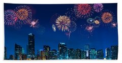 Beach Sheet featuring the photograph Fireworks In Miami by Carsten Reisinger