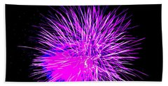 Beach Towel featuring the photograph Fireworks In Purple by Michael Porchik