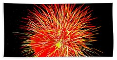 Beach Towel featuring the photograph Fireworks In Red And Yellow by Michael Porchik
