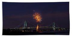 Fireworks On Staten Island South Beach Beach Towel