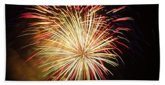 Beach Towel featuring the photograph Fireworks Over Chesterbrook by Michael Porchik