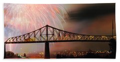 Fireworks Over The Jacques Cartier Beach Towel