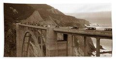 First Cars Across Bixby Creek  Bridge Big Sur California  Nov. 1932 Beach Towel