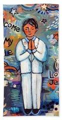 First Communion Boy Beach Towel