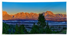 First Light On The Tetons Beach Towel