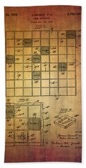 First Scrabble Game Board Patent From 1956  Beach Towel