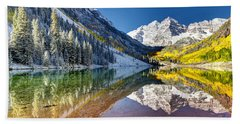 First Snow Maroon Bells Beach Towel