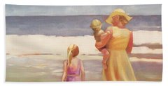 First Waves Beach Waves With Children And Mom  Beach Towel
