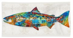Fish Art Print - Colorful Salmon - By Sharon Cummings Beach Towel