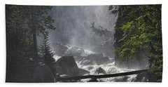 Beach Towel featuring the photograph Fish Creek Mist by Don Schwartz