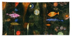 Beach Towel featuring the painting Fish Magic by Paul Klee