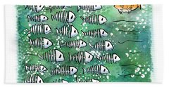 Fish School Reunion Beach Towel