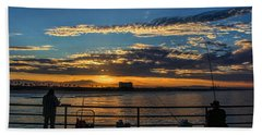 Beach Sheet featuring the photograph Fishermen Morning by Tammy Espino