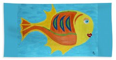 Beach Towel featuring the mixed media Fishie by Deborah Boyd