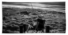 Fishing Above The Clouds Grayscale Beach Towel