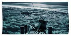 Fishing Above The Clouds Beach Towel