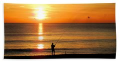 Fishing At Sunrise Beach Towel