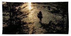 Fishing At Sunset - Thousand Islands Saint Lawrence River Beach Sheet