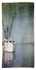 Fishing Boat In Chincoteague Beach Towel