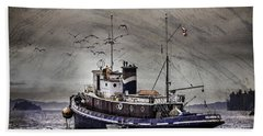Beach Sheet featuring the mixed media Fishing Boat by Peter v Quenter