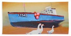 Fishing Boat Walberswick With Geese Beach Towel