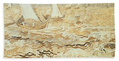 Fishing Boats At Saintes Maries De La Mer Beach Towel