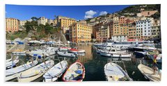 Beach Sheet featuring the photograph fishing boats in Camogli by Antonio Scarpi