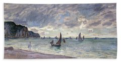 Fishing Boats In Front Of The Beach And Cliffs Of Pourville Beach Towel