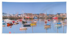 Fishing Boats In The Howth Marina Beach Towel by Semmick Photo