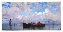 Beach Towel featuring the painting Fishing Boats On A Venetian Lagoon by Pg Reproductions