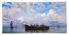 Fishing Boats On A Venetian Lagoon Beach Sheet by Pg Reproductions