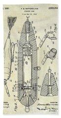 Fishing Lure Patent  Beach Towel by Jon Neidert