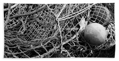 Beach Towel featuring the photograph Fishing Nets And Floats Monochrome by Jane McIlroy