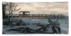 Beach Sheet featuring the photograph Fishing Pier And Driftwood by Christiane Schulze Art And Photography