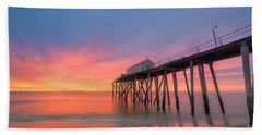 Fishing Pier Sunrise Beach Towel