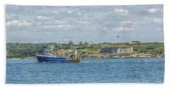 Beach Towel featuring the photograph Fishing Trawler Coming Into Port by Jane Luxton