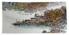 Fishing Village In Autumn Beach Towel by Yufeng Wang