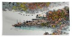 Fishing Village In Autumn Beach Towel