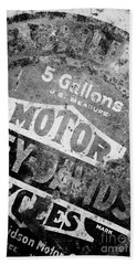 Beach Towel featuring the photograph Five Gallon Motorcycle Oil Can by Wilma  Birdwell