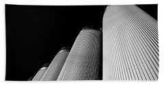 Five Silos In Black And White Beach Sheet