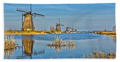 Five Windmills At Kinderdijk Beach Towel by Frans Blok