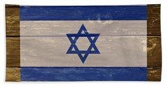 Israel National Flag On Wood Beach Towel