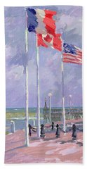 Flags At Courseulles Normandy  Beach Towel