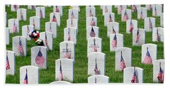 Beach Towel featuring the photograph Flags Of Honor by Ed Weidman