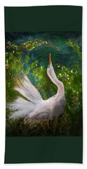 Beach Towel featuring the photograph Flamboyant Egret by Melinda Hughes-Berland