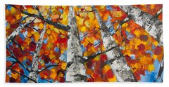 Flaming Aspens Beach Towel