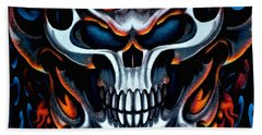 Flaming Skull Beach Towel