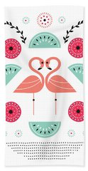 Flamingo Flutter Beach Towel by Susan Claire