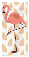 Flamingo Illustration Beach Towel