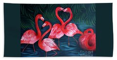 Flamingo Love. Inspirations Collection. Special Greeting Card Beach Towel by Oksana Semenchenko